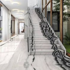 marble flooring BKF Decor Solutions on I - Marble Staircase, Grand Staircase, Staircase Design, Floor Design, House Design, Stair Builder, Building Stairs, Deco Originale, Interior Stairs