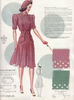 Living In Fifties Fashion: Fifties' Polka Dot Dresses 1940s Fashion Women, 1900s Fashion, Fifties Fashion, Plus Size Fashion For Women, Retro Fashion, Vintage Fashion, 1950s Style, Vintage Outfits, Vintage Dresses