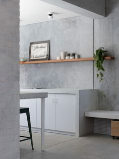 Image 35 of 35 from gallery of House A / Whispering Smith. Courtesy of Whispering Smith Concrete Bench, Concrete Kitchen, Concrete Houses, White Concrete, Concrete Floors, Kitchen Flooring, Concrete Counter, Precast Concrete, Concrete Design