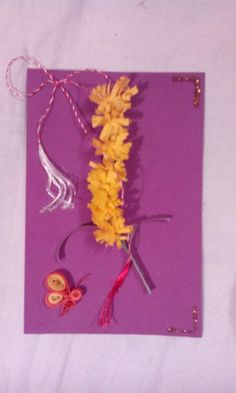 Quilling flower postcard