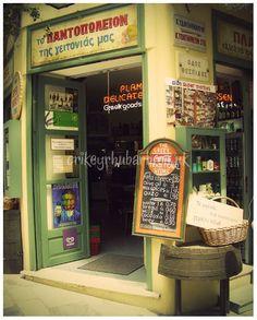 Items similar to Delicatessen Store In Athens, Greece - 8 x 10 Inch Photograph, Greek Urban Shop In Pastel Yellow And Green on Etsy Parthenon, Acropolis, Mykonos, Albania, Bulgaria, Urban Shop, Athens Greece, Athens City, Shop Fronts
