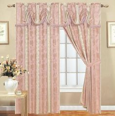 LIZET LUXURIOUS JACQUARD SET WITH ATTACHED VALANCE PINK - 60X84+18