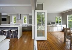 Home Renovation Outdoor Architects Hawthorne, Brisbane, QLD 4171 - Queenslander Renovation Architects New Homes, Indoor Outdoor Kitchen, House, Home, Home Renovation, Kitchen Design, Outdoor Kitchen, House Inspo, Indoor Outdoor Living