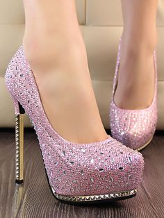 Fashion Shallow Stiletto Heels Metal Crystal Shoes