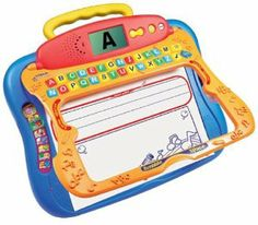 VTech - Write & Learn Smartboard by V Tech. $19.99. 26 alphabet buttons respond to show step-by-step stroke order. For ages 3+ years. Brightly colored writing tutor board with Smart Writing area magically recognizes the numbers and letters a child writes. Unlined jumbo Scribble Space plays silly sounds as a child draws. LCD screen shows children what they've written and rewards their writing. Amazon.com                Young kids can learn to write using this sl...