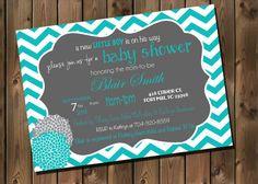 Teal and Grey Baby Boy Shower Invitation Chevron by RockStarPress, $12.00