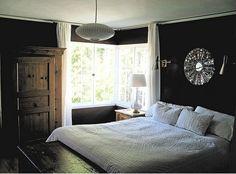 bedrooms - Benjamin Moore - Chocolate Sundae - pendant, lighting, bedding, mirror, dark brown bedroom walls, dark brown walls, dark brown paint, dark brown paint color,