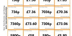 Two differentiated sets of matching cards to convert £'s into pence,