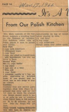 St Stan's Polish Kitchen, Historic Polonia, Buffalo, NY is part of Recipes - Keeping Polish Traditions Alive Favorite recipes from the St Stans Polish Kitchen as submitted by friends & parishioners Retro Recipes, Old Recipes, Vintage Recipes, Cake Recipes, Dessert Recipes, Cooking Recipes, Ethnic Recipes, Recipies, Czech Recipes