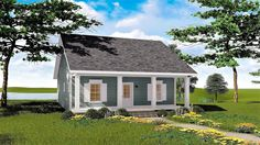 <ul><li>You'll be living larger than you thought 992 sq.ft. could ever do in this 2 bedroom cottage home plan.</li><li>An 8' deep front porch gives extra living area for relaxing.</li><li>An open great room, kitchen and dining area combine to make the home feel larger.</li><li>A gas fireplace is accented with cabinets and windows above.</li><li>The kitchen comes complete with an island and raised snack bar...