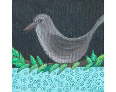 "Bird: Acrylic and ink on canvas, 5"" x 5"" x 1.5"". By Mary Mohr Johnson"