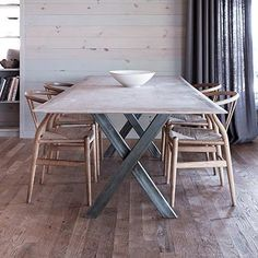 Broome Street X Base Table - Canvas Home Dining Room Inspiration, Home Decor Inspiration, Metal Furniture, Furniture Design, Oak Dining Table, Dining Rooms, Communal Table, Industrial Table, Canvas Home