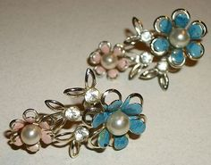 Pair of Vintage Screw Back Earrings Floral with Rhinestones & Enamel