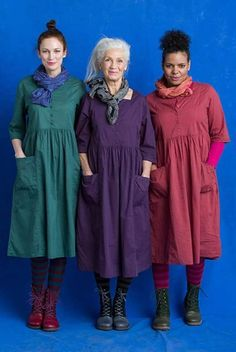 Women loose fitting over plus size retro flower pocket dress tunic loong sleeve Fashion Over 50, Look Fashion, Hijab Fashion, Fashion Dresses, Womens Fashion, Modele Hijab, Mode Plus, Bohemian Mode, Linen Dresses