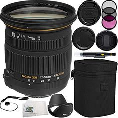 Sigma 1750mm f28 EX DC OS HSM Zoom Lens for Canon DSLRs with APSC Sensors Bundle Includes Manufacturer Accessories  3 PC Filter Kit  Lens Cap  Lens Pen  Cap Keeper  Microfiber Cleaning Cloth ** BEST VALUE BUY on Amazon  #ElectronicsonSALE
