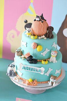Puppy Kitten Birthday Party 36 x 48 Cake Table Puppy Birthday Cakes, Birthday Cake For Cat, Puppy Birthday Parties, Puppy Party, Happy Birthday, Dog Cakes, Girl Cakes, Kitten Party, Kitten Cake