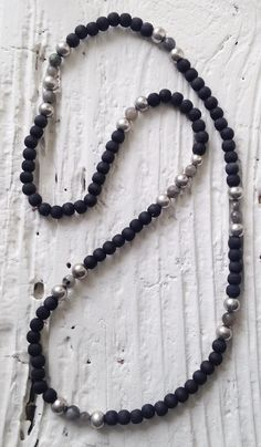 Image of #100378 - Simple Layering Necklace - Modern Black Wooden Beads with Labradorite
