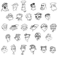 A collection of character design faces