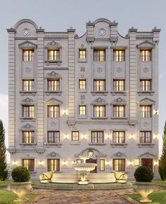 hotel exterior Classic residential building on Behance Building Elevation, Building Exterior, Building Facade, Building Design, Front Elevation, Neoclassical Architecture, Facade Architecture, Residential Architecture, Classic House Exterior