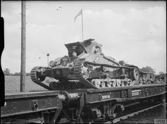 Matilda Mk I tank of the Royal Tank Regiment, 1st Armoured Division, being transported aboard a flatbed railway wagon, 22nd July 1940.
