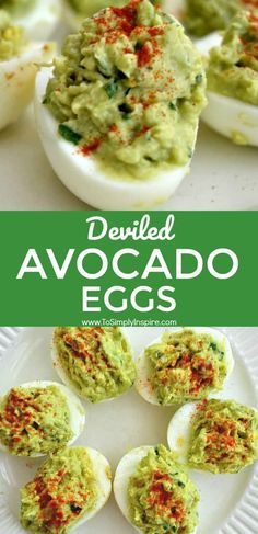 These deviled avocado eggs are an amazing healthy alternative to traditional dev. These deviled avocado eggs are an amazing healthy alternative to traditional deviled eggs. Healthy Diet Recipes, Healthy Meal Prep, Healthy Snacks, Meal Recipes, Egg Dinner Recipes, Baking Recipes, Healthy Brunch, Healthy Eating, Kraft Recipes