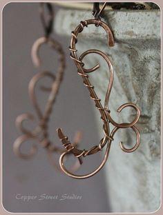 Copper Swirl Earrings Copper Wire Wrapped by CopperStreetStudios