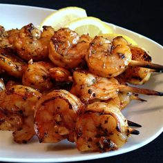 """Grilled Garlic and Herb Shrimp Recipe - - """"My dad gave me this recipe, and every time I make it I have people begging me for the recipe. Traeger Recipes, Grilling Recipes, Fish Recipes, Seafood Recipes, Cooking Recipes, Healthy Recipes, Skinny Recipes, Healthy Grilling, Vegetarian Cooking"""