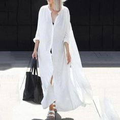 Oversize Women Summer Beachwear Long Kaftan Beach Dress White Cotton Tunic Bathing Suit Cover-ups Bikini Wrap Cover up Fashion Mode, Look Fashion, Dress Fashion, Trendy Fashion, Fashion Trends, Urban Look, Streetwear, Long Kaftan, Long Sleeve Maxi