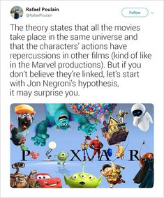 """A Twitter User Sums Up the """"Pixar Theory"""" Showing That All Their Movies Create a Single Story"""