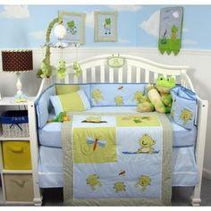SoHo Adorable Froggy Baby Crib Nursery Bedding Set 14 pcs included Diaper Bag with Changing Pad, Accessory Case & Bottle Case SoHo Designs Avent Baby Bottles, Glass Baby Bottles, Frog Nursery, Avent Baby Products, Boy Nursery Bedding, Home Daycare, Baby Pillows, Baby Cribs, Baby Room