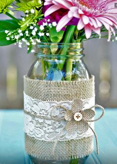 Mason jars decorated jar centerpieces crafts unleashed 1 for weddings gift ideas baby shower boy . Pot Mason Diy, Lace Mason Jars, Mason Jar Crafts, Bottle Crafts, Wedding Centerpieces Mason Jars, Simple Centerpieces, Centerpiece Decorations, Wedding Decorations, Decor Wedding