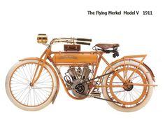 """1911 Merkel Model V Motorcycle """"The Flying Merkel"""". Made in Milwaukee, Wisconsin. Motos Vintage, Vintage Bikes, Vintage Cars, Vintage Stuff, Retro Vintage, Antique Motorcycles, Cars And Motorcycles, Motorcycle Engine, Classic Motors"""
