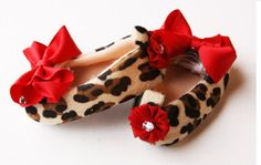 Ready to Ship Girls Baby Booties w/Red Bow & Crystal Center-- Baby Crib Shoes -- Leopard Baby Slip ons. $17,95, via Etsy.