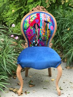 Teal Painted Dining Chairs - Red Accent Chairs Livingroom - - - - Reupholster Chairs With Wood Frame Funky Furniture, Repurposed Furniture, Furniture Makeover, Painted Furniture, Reclaimed Furniture, Vintage Furniture, Funky Chairs, Colorful Chairs, Funky Home Decor