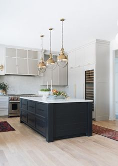 Modern Farmhouse Style Kitchen With Island Painted In Sherwin Williams SW 6258 TriCorn SherwinWilliams