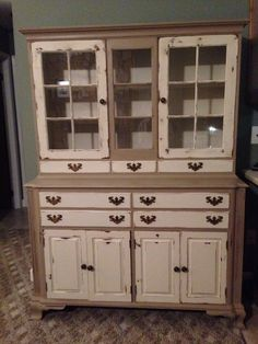 Our beautiful new hutch! Cherry oak wood. From 1952! Vintage. Antique.
