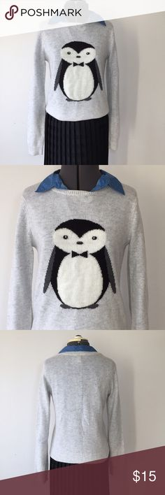 """Super Cute Penguin Sweater Forever 21 Gray Penguin Sweater. Size M measures : 16"""" across shoulders, 18"""" across chest, 23"""" long, 25"""" sleeve. There is no material tag. Sweater does have some piling from normal wear and wash. 117/400/111916 Forever 21 Sweaters Crew & Scoop Necks"""