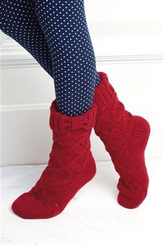 Red Cable Slipper Socks