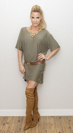 Sexing it up: On the show, Katie sported a khaki T-shirt, which she wore as a dress, with ...
