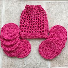 Cotton face pads set of 10 face scrubbies crocheted laundry