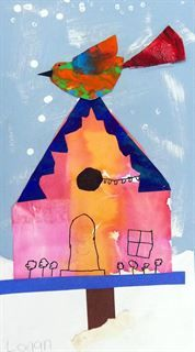 Artsonia Art Gallery - Winter Street Banner - Bird House Collage