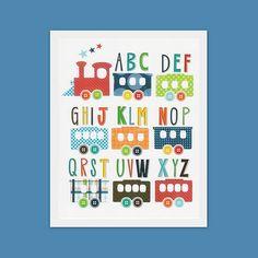 Alphabet train wall art