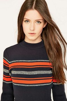 53302fa0b950 Urban Outfitters Blue Placement Striped Mockneck Jumper - Urban Outfitters