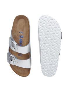 Sandalen aus echtem Leder in Metallicoptik