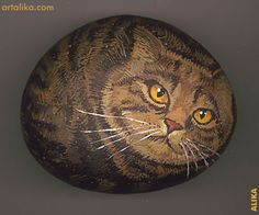 painted rocks: British fat cat  by Alika