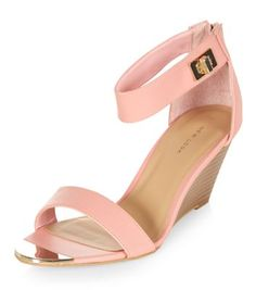 20c9bf85a Pink Metal Front Ankle Strap Wedges New Look Heels, Pink High Heels, Ankle  Strap