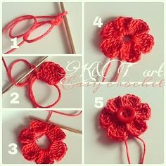 """""""The difference is in the details"""": Easy crochet: Flowers bows Size 1 - mm hook Begin with a magic circle [ Chain work 6 tr, ch sl st into the ring] Repeat sequence in [ ] to form 6 petals. Pull yarn tail to tighten the loop, end off. weave in ends. Crochet Diy, Crochet Simple, Crochet Motifs, Crochet Flower Patterns, Love Crochet, Crochet Crafts, Crochet Projects, Knitting Patterns, Easy Crochet Flower"""