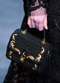 A Crocheted Bag a la Dolce & Gabbana. Would be awesome made from plarn and other upcycled materials!