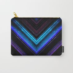 Sparkly metallic blue and purple galaxy lines Carry-All Pouch by #PLdesign #geometric #lines #abstract