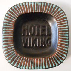 Vintage Hotel Viking Oslo Norway Pottery Ashtray Dark Brown Turquoise   eBay